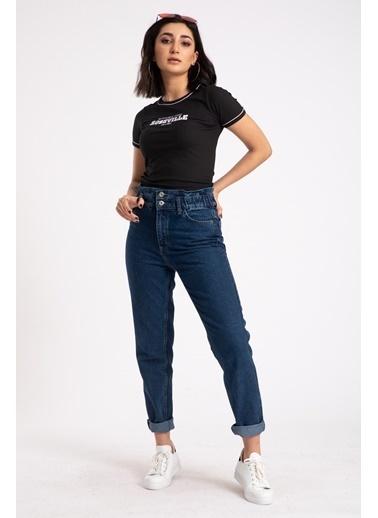 Madame Sare  Kadın Siyah Yazı Nakışlı Crop Bluz Siyah